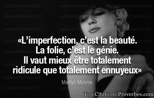 Citation courte : L'imperfection, c'est la beauté.