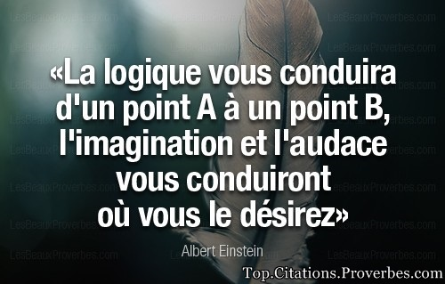 citations : La logique vous conduira d'un point A à un point B, l'imagination et l'audace vous condu...