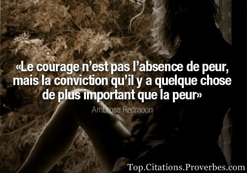 citations : Le courage n'est pas l'absence de peur, mais la conviction qu'il y a quelque chose de pl...