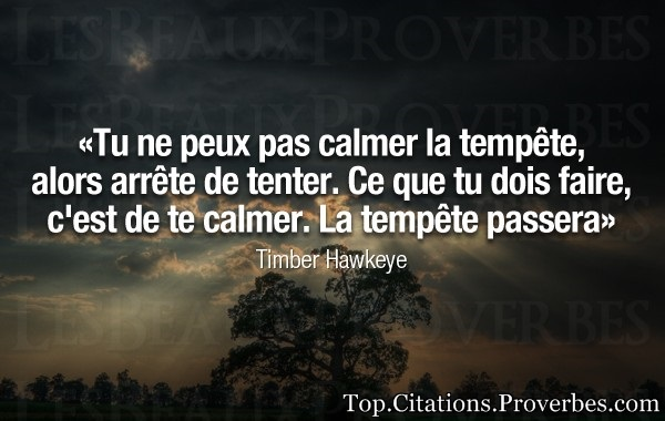 La tempête passera Timber Hawkeye…
