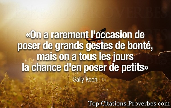 citations : On a rarement l'occasion de poser de grands gestes de bonté, mais on a tous les jours la...