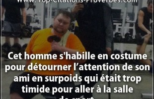 Citation amitié : Cet homme s'habille en costume pour  détourner l'attention de son ami en  surpoids...