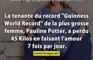 "La tenante du record ""Guinness World Record"" de la plus grosse femme, Pauline Potter, a perdu 45 kil..."
