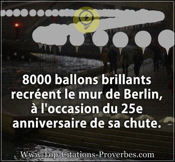 Citation courte : 8000 ballons brillants recréent le mur de Berlin, à l'occasion du 25e anniversaire...