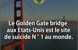 Citation courte : Le Golden Gate bridge aux Etats-Unis est le site de suicide N ° 1 au monde.