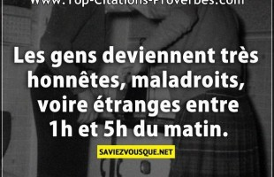 Les gens deviennent très honnêtes, maladroits, voire étranges entre 1h et 5h du matin.