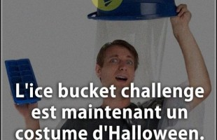 Citation courte : L'ice bucket challenge est maintenant un costume d'Halloween.
