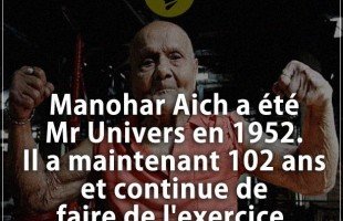 Citation courte : Manohar Aich a été Mr Univers en 1952. Il a maintenant 102 ans et continue de fair...