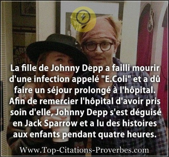 "Citation de fille : La fille de Johnny Depp a failli mourir d'une infection appelé ""E.Coli"" et a dû ..."