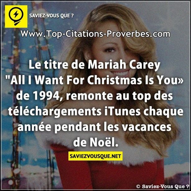 "Le titre de Mariah Carey ""All I Want For Christmas Is You de 1994, remonte au top des téléchargement..."