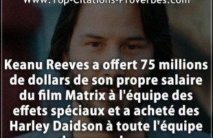 Citation film : Keanu Reeves a offert 75 millions de dollars de son propre salaire du film Matrix à ...