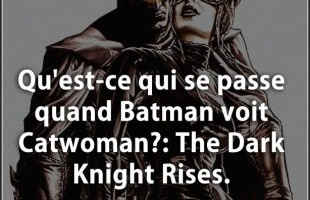 Blague humour : Qu'est-ce qui se passe quand Batman voit Catwoman?: The Dark Knight Rises.