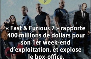Citation argent :  Fast & Furious 7  rapporte 400 millions de dollars pour son 1er week-end d'exploi...
