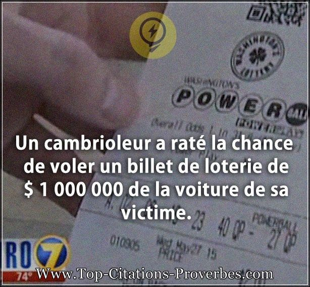 Citation chance : Un cambrioleur a raté la chance de voler un billet de loterie de $ 1 000 000 de la...