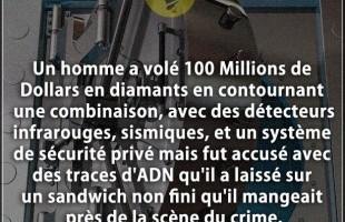 Citation crime : Un homme a volé 100 Millions de Dollars en diamants en contournant une combinaison,...