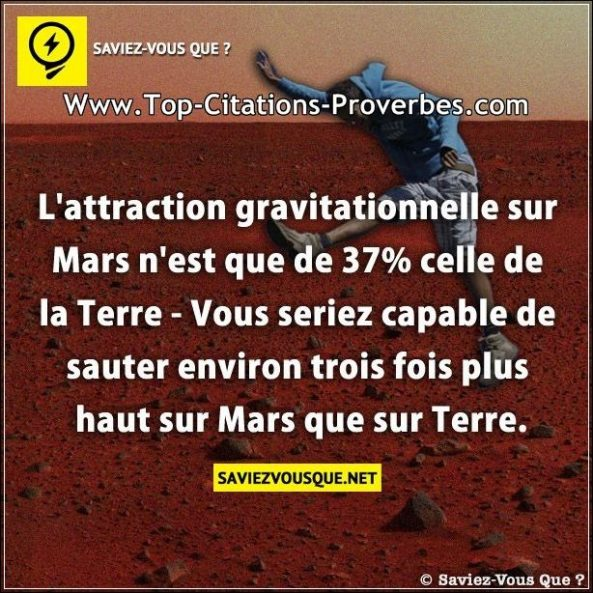 L'attraction gravitationnelle sur Mars n'est que de 37% celle de la Terre – Vous seriez capable de s...