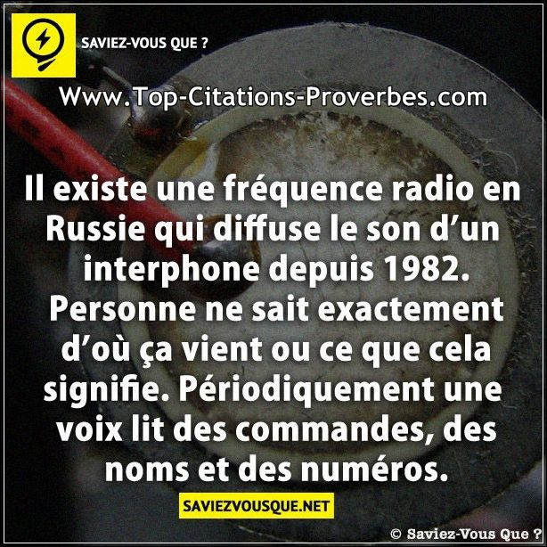 Citation sur la vie : Il existe une fréquence radio en Russie qui diffuse le son d'un interphone dep...